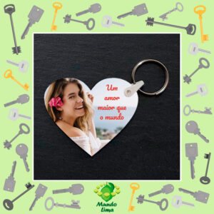 Porta-chaves coração 2 lados em MDF