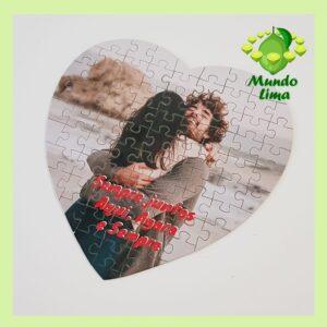 Puzzle coração 75 peças com foto e texto sem caixa